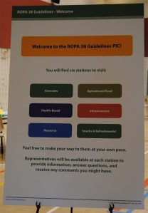 Welcome poster to the ROPA 38 Guidelines Public Information Centre