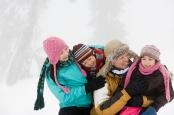 Family having fun in winter